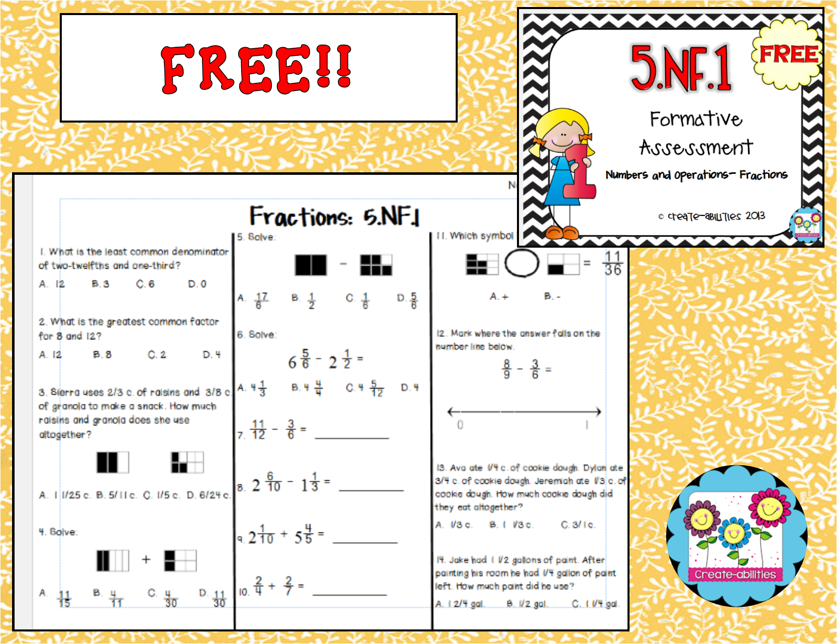 Free 51 formative assessment and answer key a free assessment 51 formative assessment and answer key a free assessment for adding and subtracting fractions assessment fractions fifthgrade fandeluxe Image collections