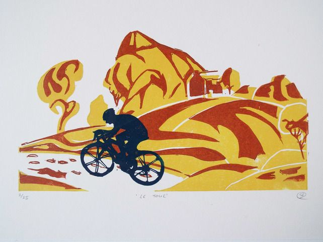 Le tour £25.00 Hand printed lino print using oil based inks.