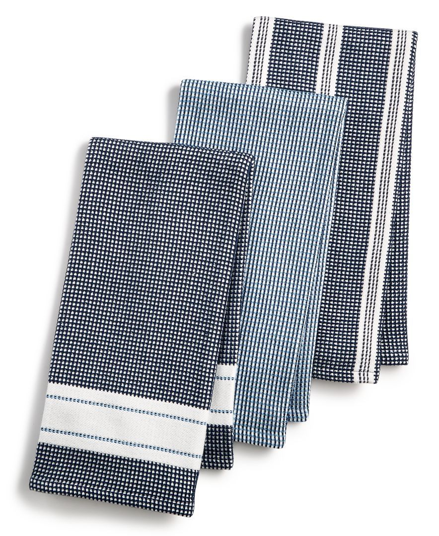 3 Pc Waffle Weave Kitchen Towels Created For Macy S