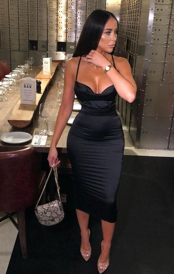 Black Satin Cowl Neck Bodycon Midi Dress    ML5595 #birthdayoutfit