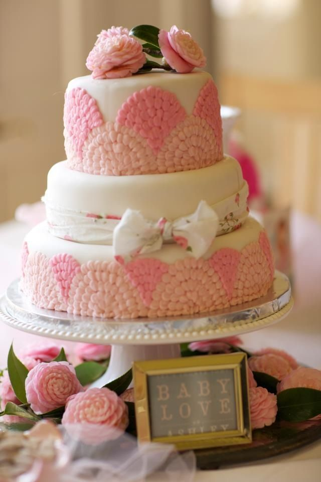 Elegant Pink Vintage Baby Shower Cake Baby Girl Baby Shower Idea