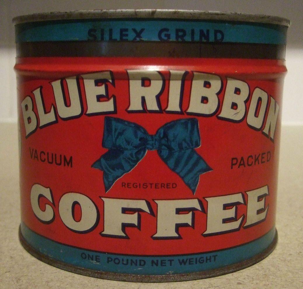 Blue Ribbon Coffee Antique Coffee Grinder Coffee Tin Vintage Coffee