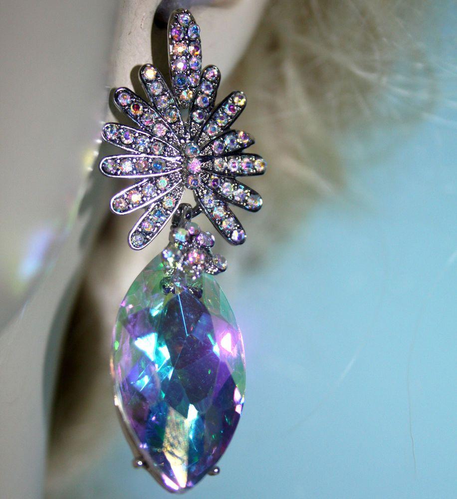 Austrian Crystal Chandelier Earrings Rhinestone Bridal Prom Pageant 26  Inch Ab #unbranded #chandelier
