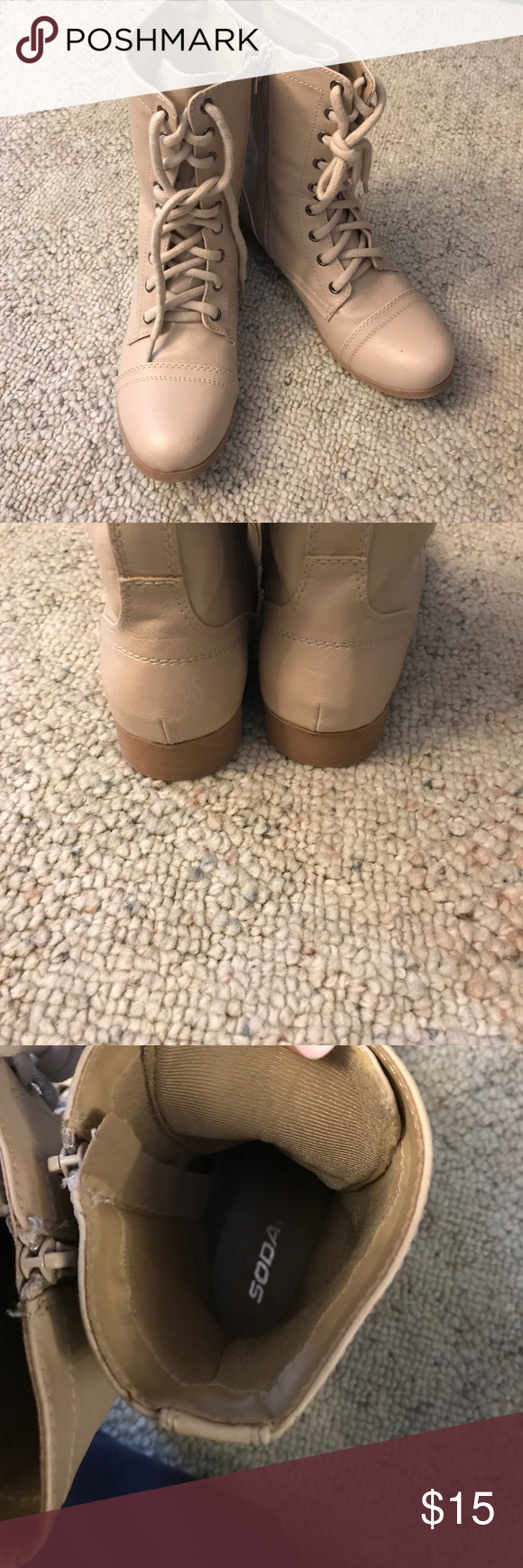 Beige boots In great condition only worn once.  Size 8 Soda Shoes Lace Up Boots