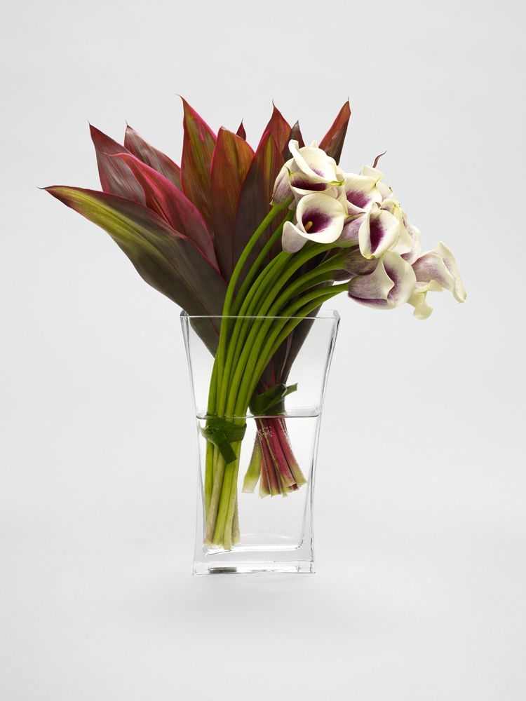 Picasso Calla and Red Thai Ti Leaves by L'Oliever Floral Atelier