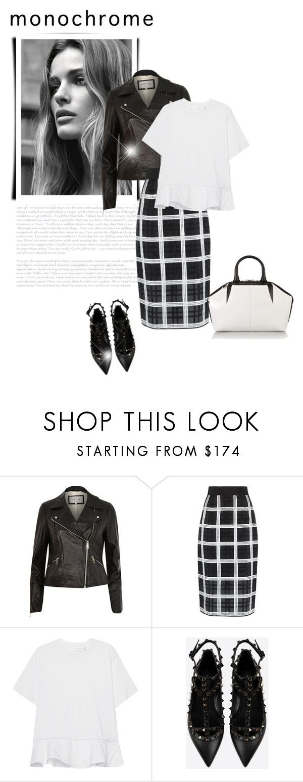 """""""Make It Monochrome"""" by bliznec ❤ liked on Polyvore featuring River Island, Milly, Victoria, Victoria Beckham, Valentino, Alexander Wang, monochrome and polyvorecontest"""