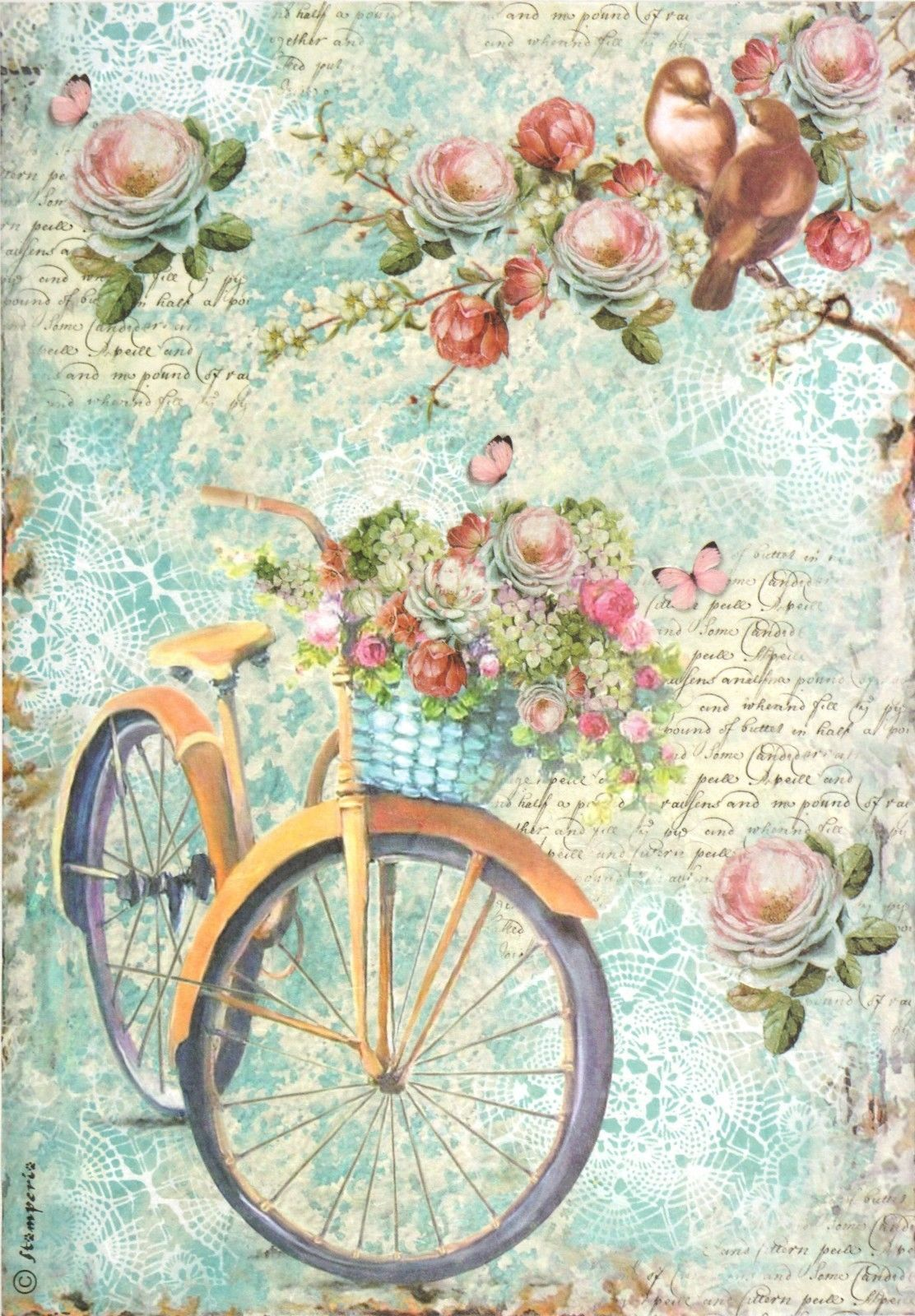 for Decoupage Scrapbooking Sheet Rice paper Butterflies and a birdcage