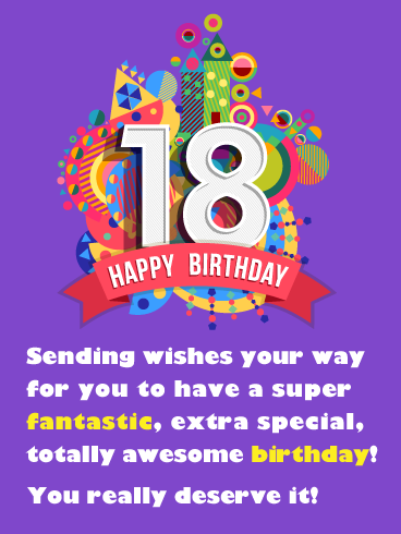 Fantastic Awesome Day Happy 18th Birthday Card Birthday Greeting Cards By Davia 18th Birthday Cards Birthday Wishes For Myself Happy Birthday 18th