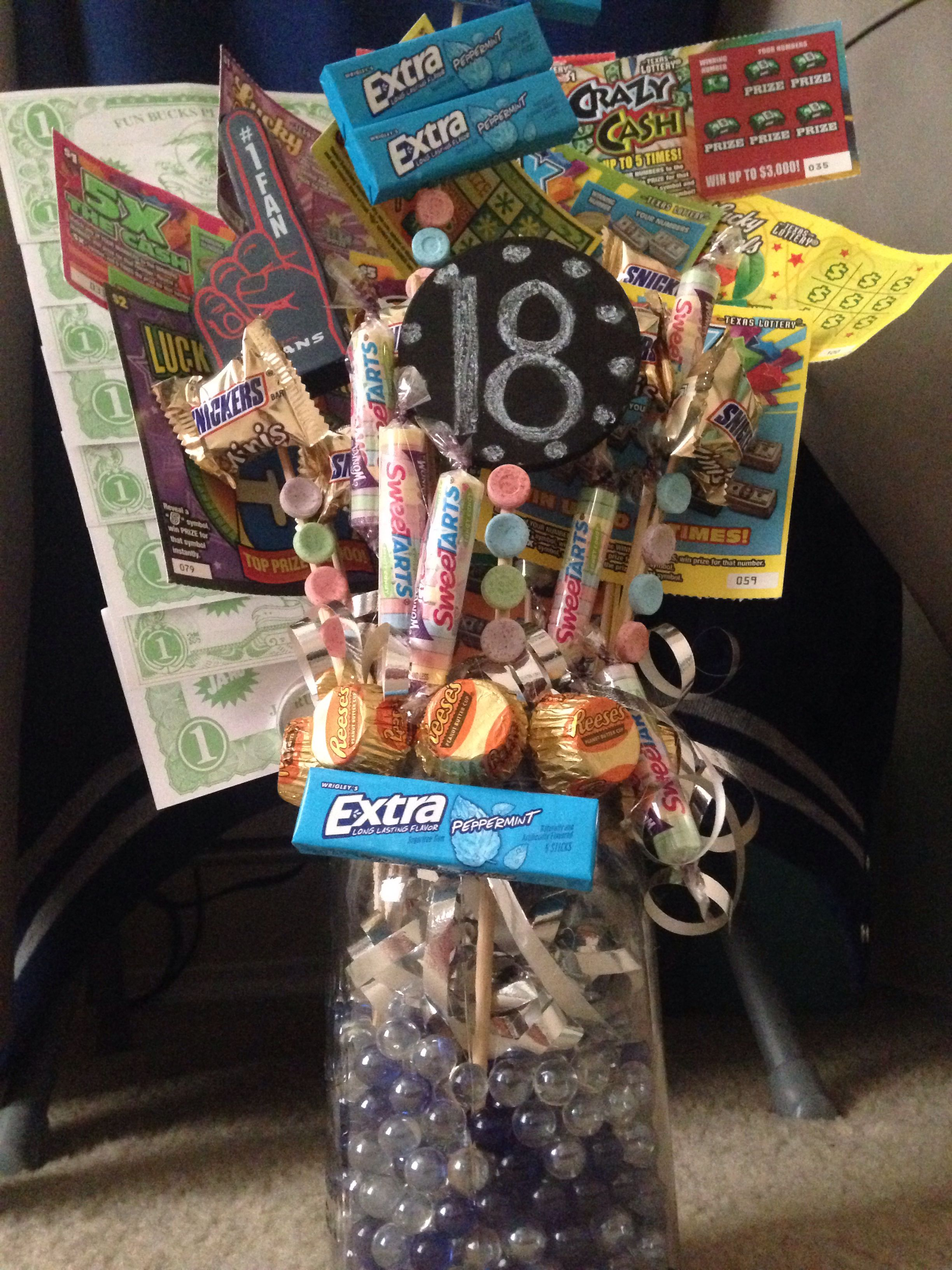 My Boyfriends 18th Birthday Present 18 Worth Of Lottery Tickets And His Favorite Candies