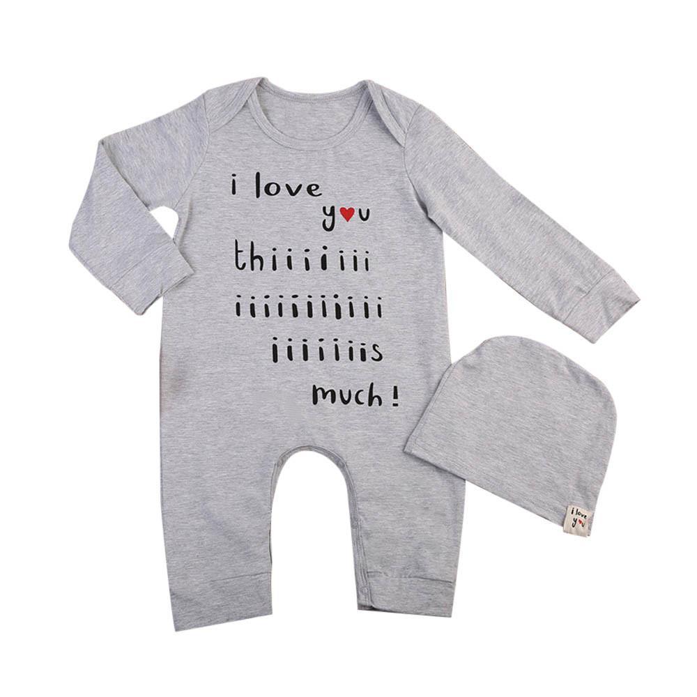 Text Pattern Baby Onesies Long-Sleeve Infant Romper Unisex