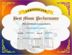 Best Music Performance Certificate Template Download At Http
