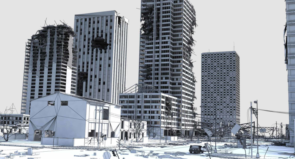 3d Model Of Ruined City Destroyed Buildings In 2021 Ruined City Ruins 3d Model
