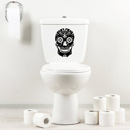 Stickany Bathroom Decal Series Beautiful Dead Skull Sticker For