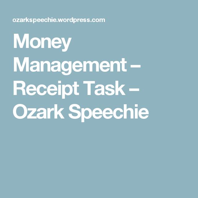 Money Management Receipt Task Ozark Speechie Money