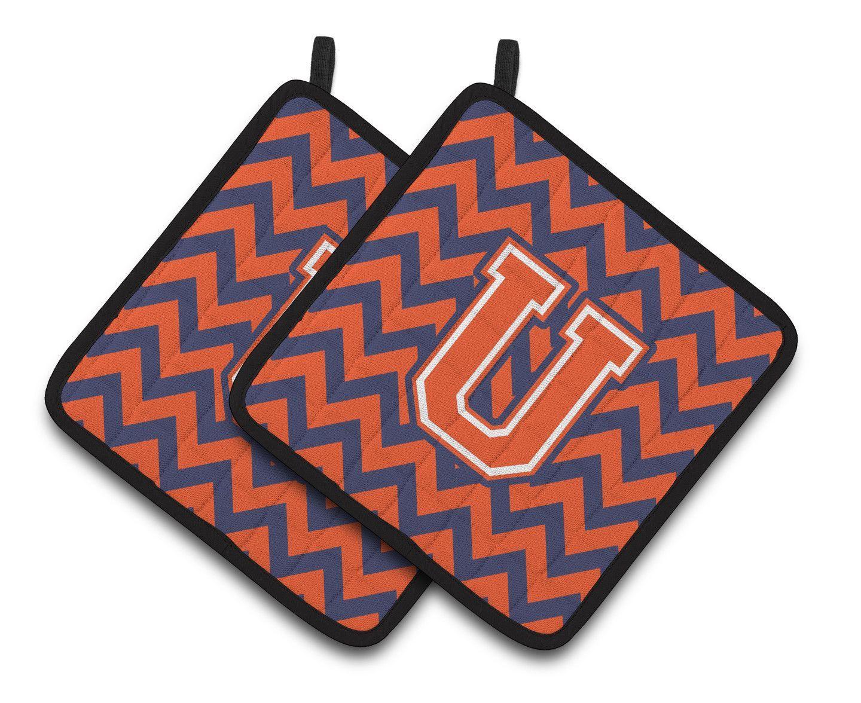 Letter U Chevron Orange and Blue Pair of Pot Holders CJ1042-UPTHD