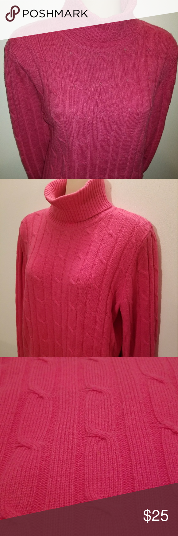 Pink Cable Knit L.L. Bean Sweater | Cable knitting, Wool blend and ...