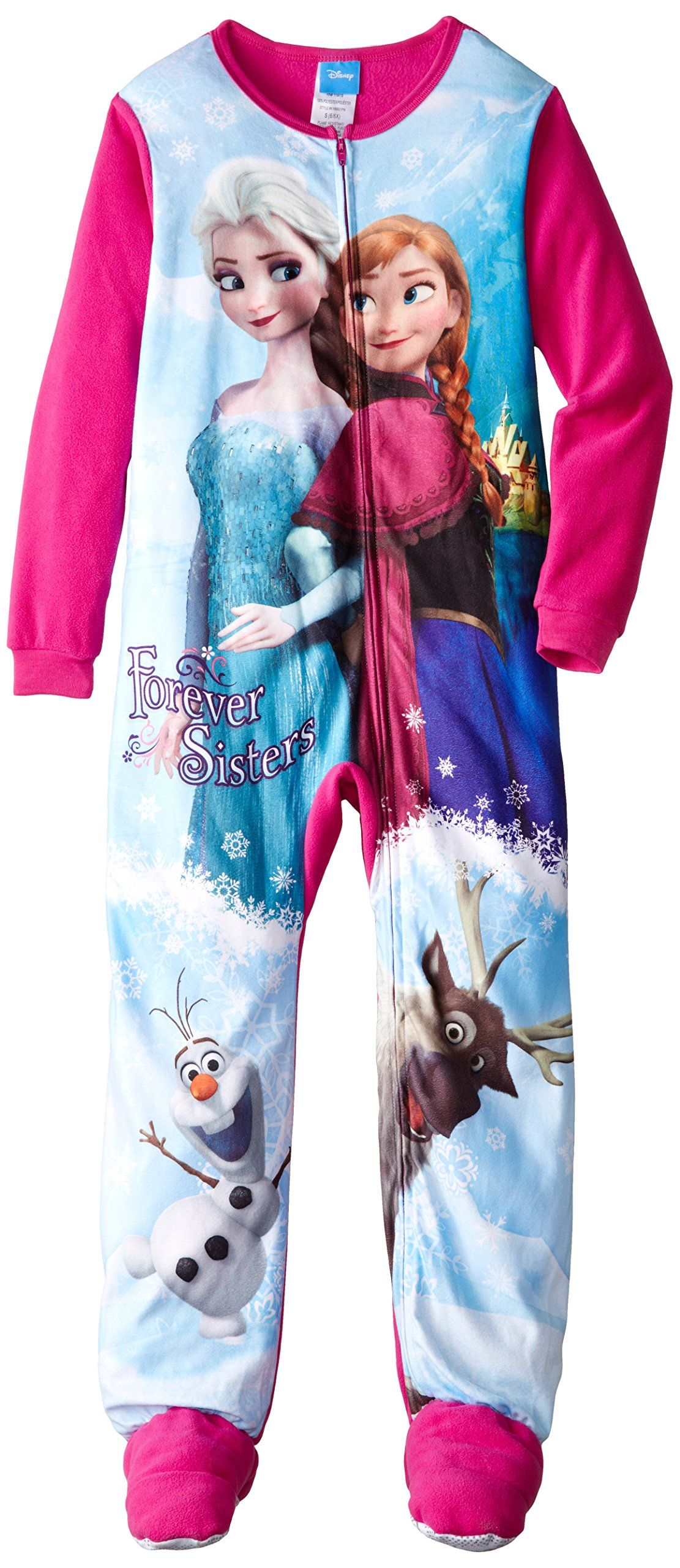5f1df5f337 Little Girls 2-6X Frozen Elsa and Anna Blanket Sleeper X-Small ...