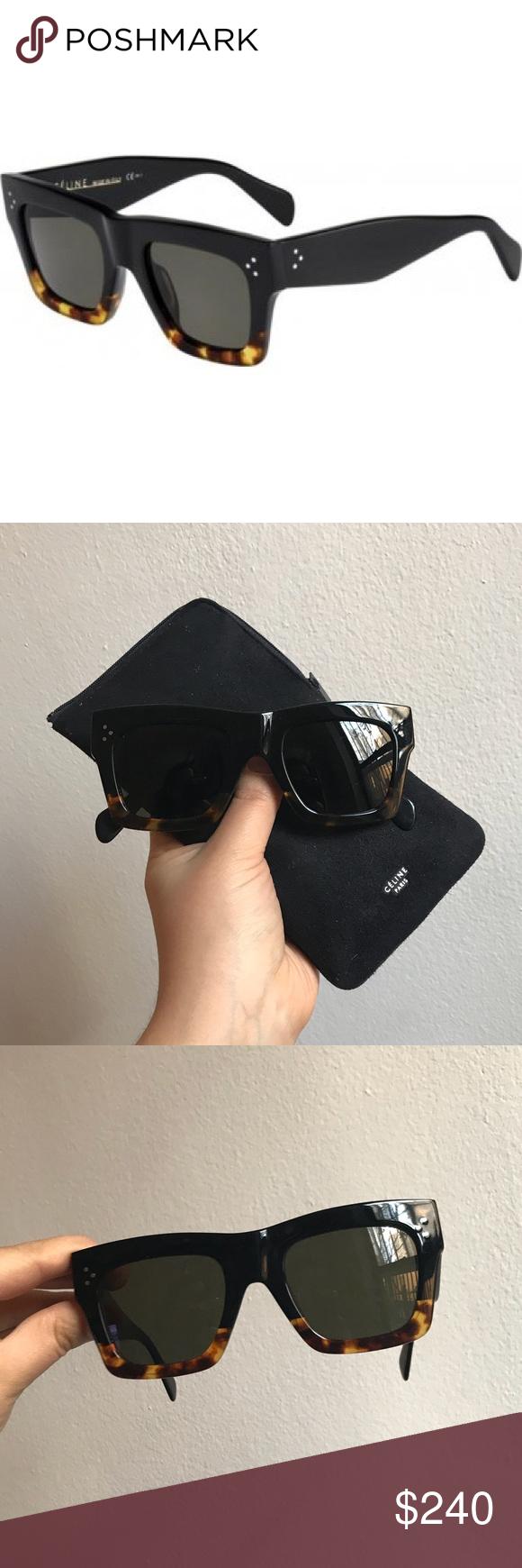 04f28cfbf2 Celine 41054 S Sunglasses Black Havana Tortoise (1E Green Lens). No  scratches
