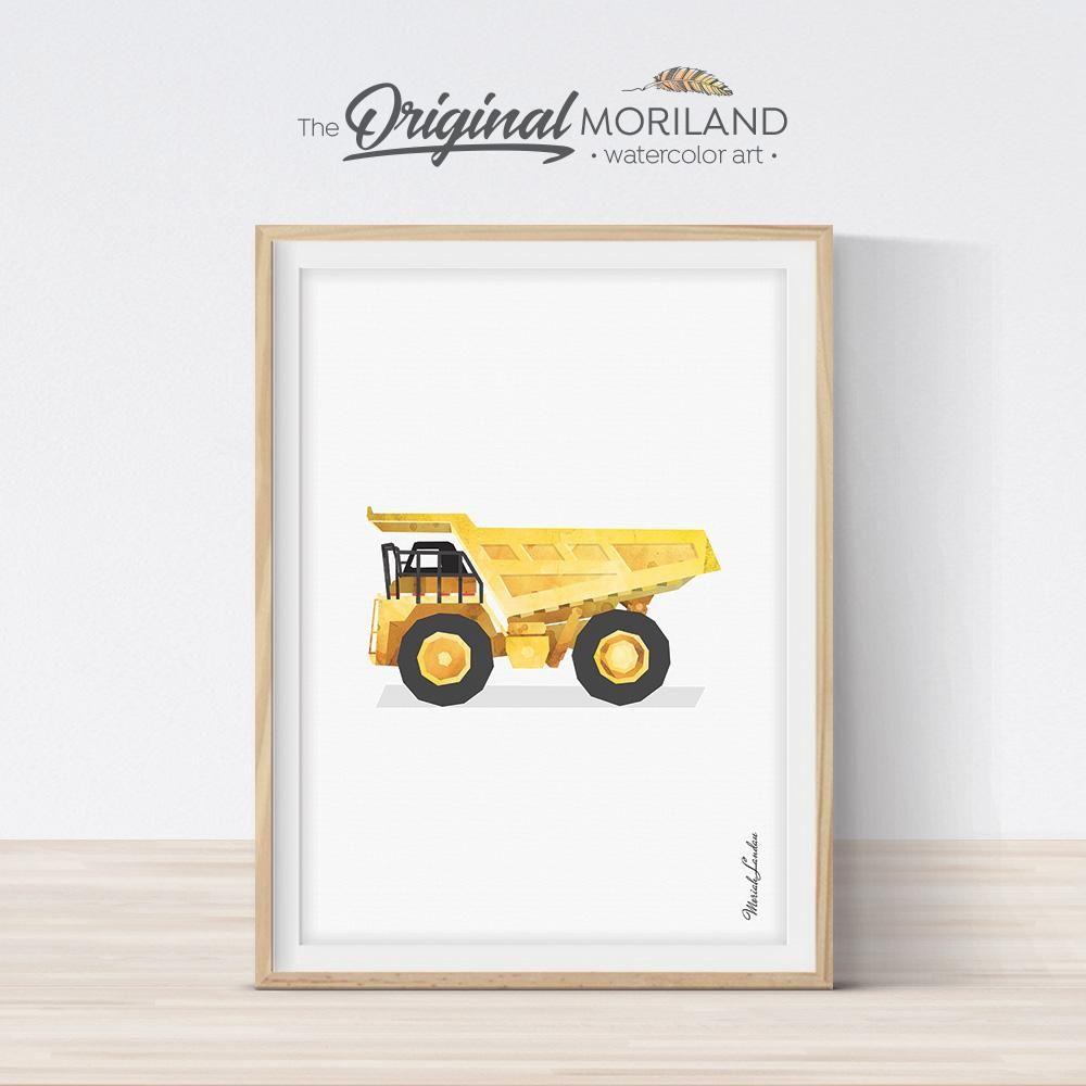 Yellow Dump Truck Printable for Boys Room Nursery Wall Art Print Truck Wall Art Construction Nursery Decor