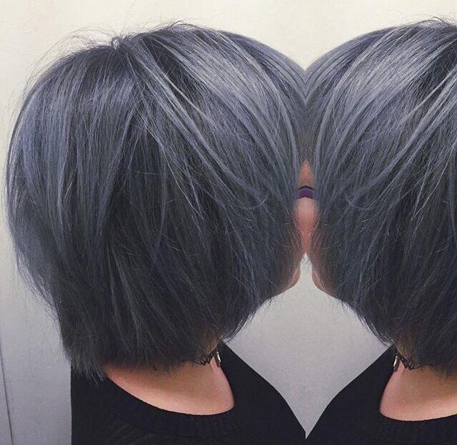Amazing Dark Grey Bob Gray Hair In 2019 Dark Grey Hair