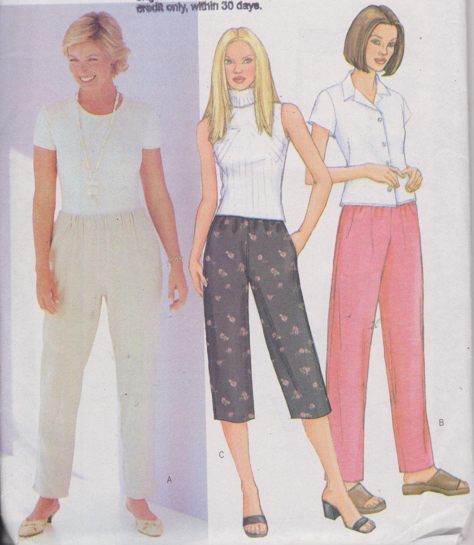 Women\'s High Waist Pants Elastic Waistband Pockets Capris Straight ...