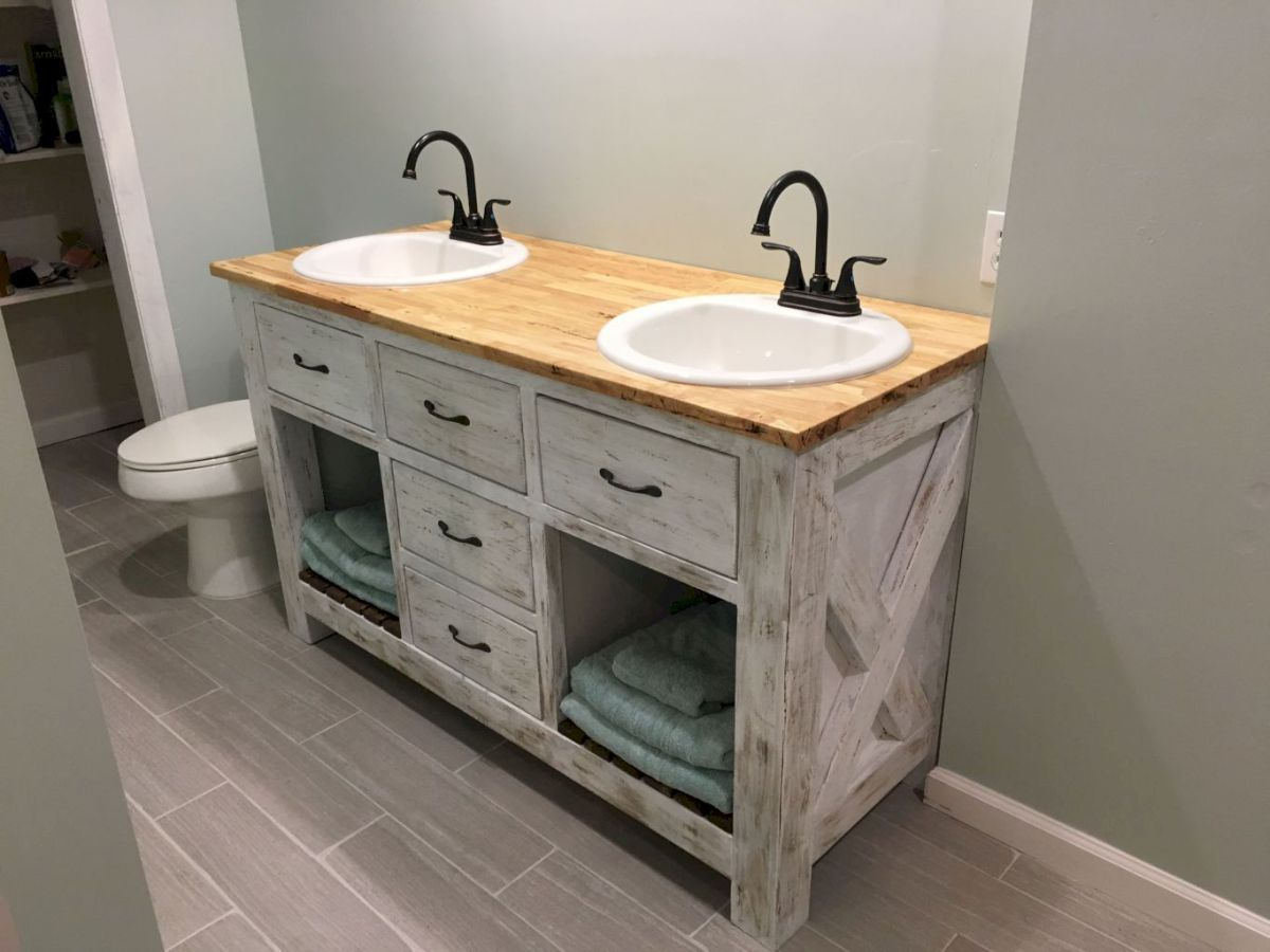 125 Brilliant Farmhouse Bathroom Vanity Remodel Ideas (14)