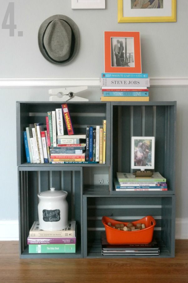 How to make a bookshelf milk crate furniture milk for Painted crate ideas