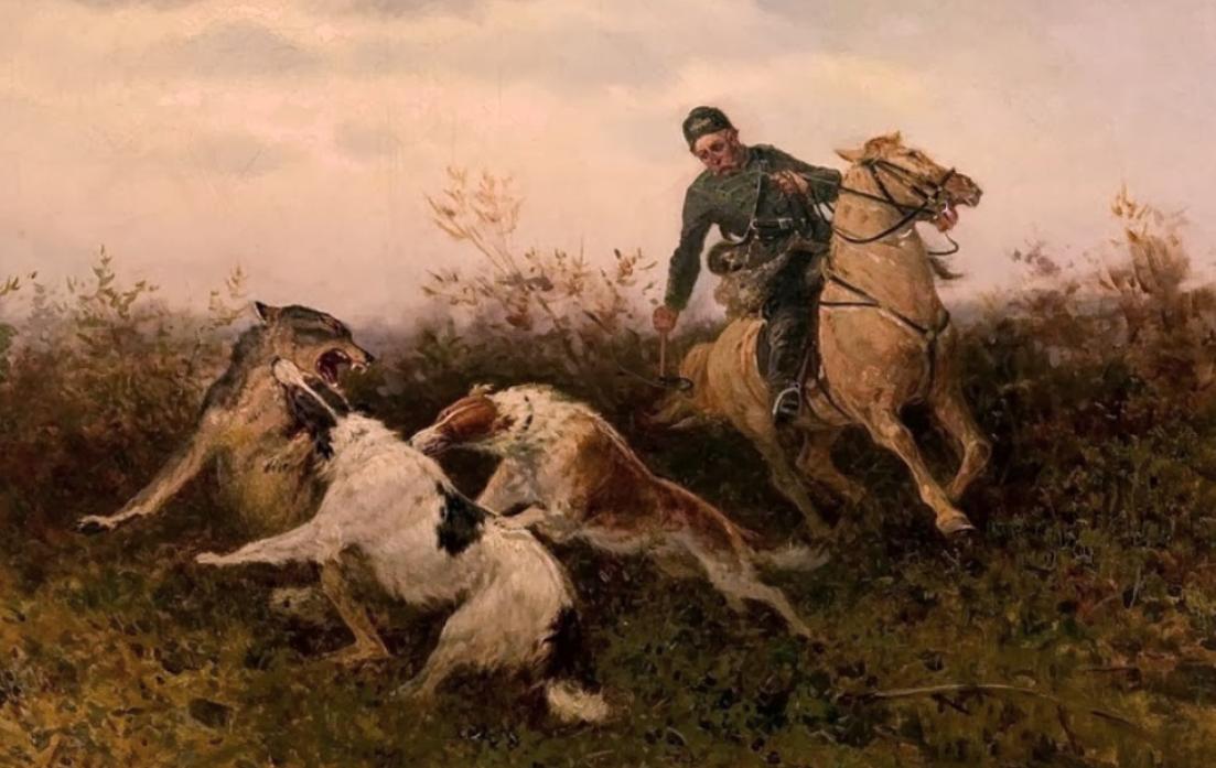 Tikhmenev, Efim A (b,1869)- Borzoi Hunting Wolf, 1904 -2d