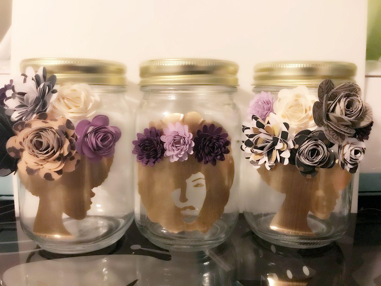 Cricut Home Decor Ideas Part - 38: Paper Flower Jars, Paper Flowers Mason Jars Makeup Brushes ,  #thecraftchicky , Cricut,