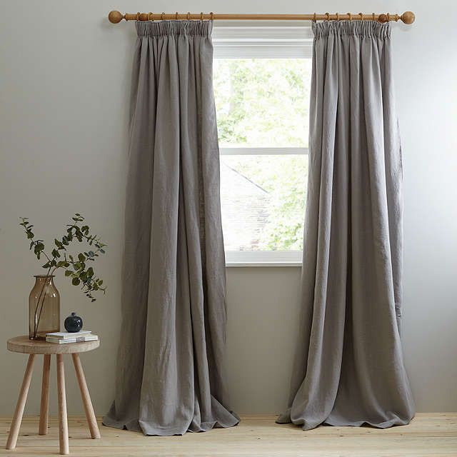 John Lewis Croft Collection Relaxed Wash Linen Lined Pencil Pleat - John lewis curtains grey