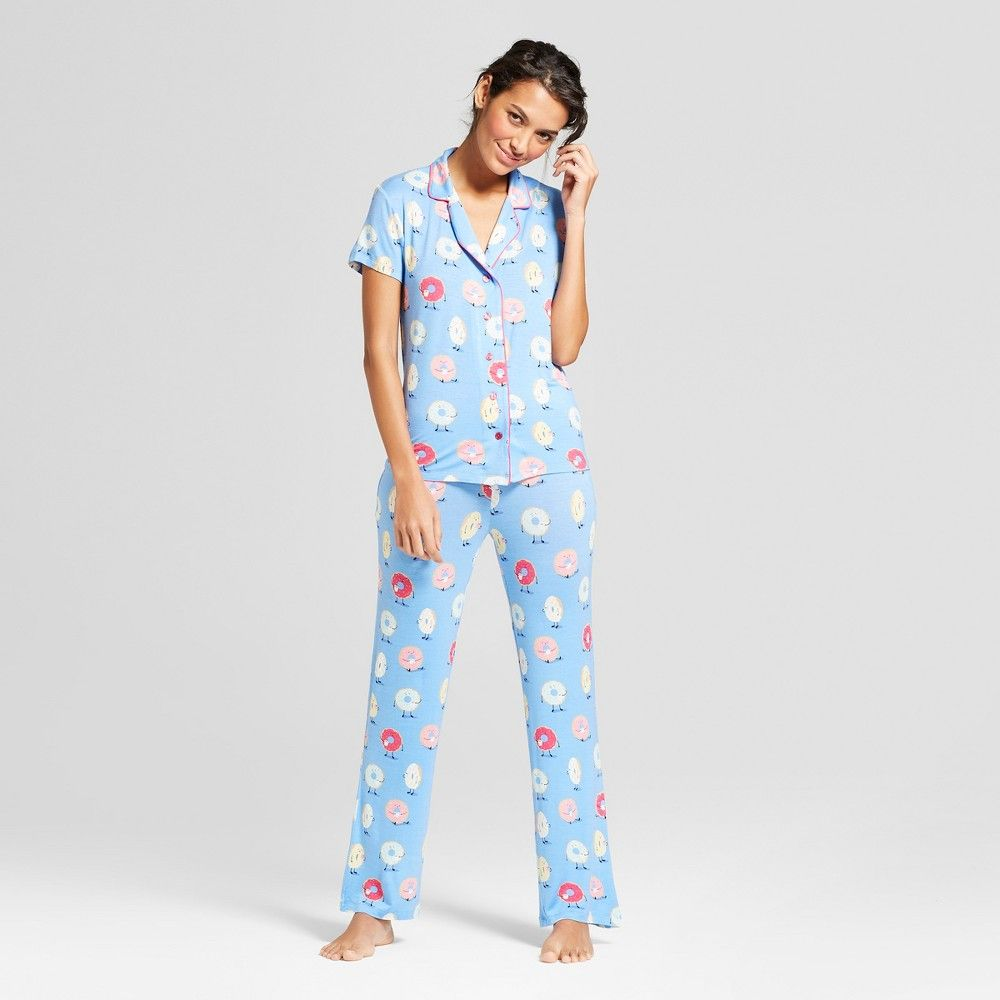 2595b79d931c Nite Nite Munki Munki Women s Donuts Notch Collar 2pc Pajama Set - Blue S