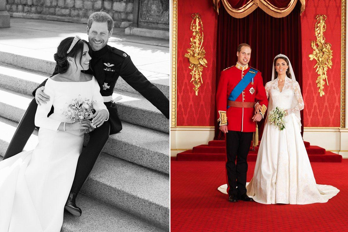 Meghan Markle Und Prinz Harry Vs Kate Middleton Und Prinz William Royale Hochzeitsbilder Im Vergleich Harry And Meghan Wedding Royal Brides Royal Weddings