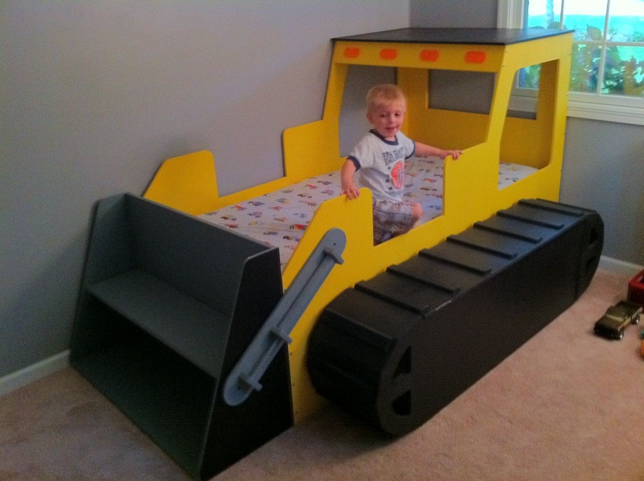 Car beds for boys full size - Rough And Rugged Bull Dozer Dozer Construction Themed Childrens Bed Twin Size Playbed With Toy Bin Crawler Track Full Size Available
