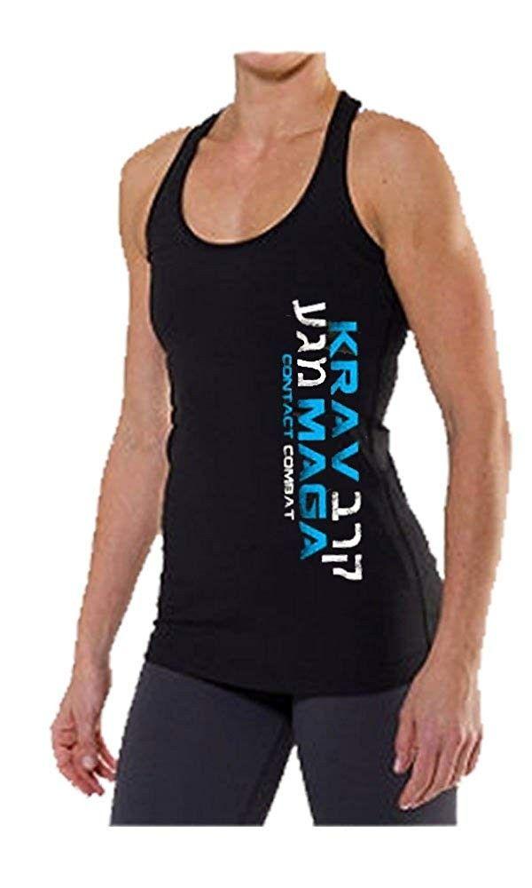 Krav MAGA Racerback Tank Top - Blue Logo - CJ11IW6FSVR - Sports & Fitness Clothing, Women, Shirts, T...