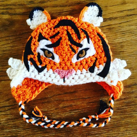 Crocheted tiger hat LINED white fleece CUSTOM, wild animal hat with ...