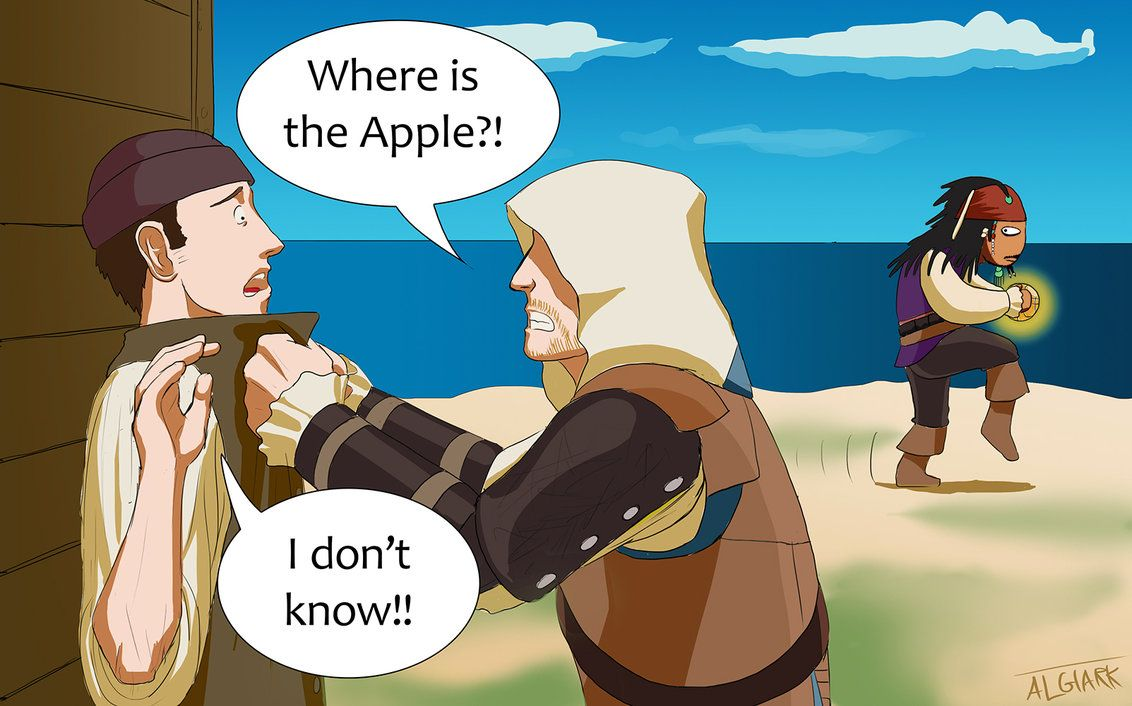 "Captains of the Caribbean: Jack steals the Apple of Eden from Edward. ""Captains of the Caribbean"" by Algiark on DeviantArt.com."