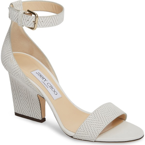 1bf8c78f91d01f Jimmy Choo Edina Ankle Strap Sandal in White. A glossy sculpted statement  heel furthers the