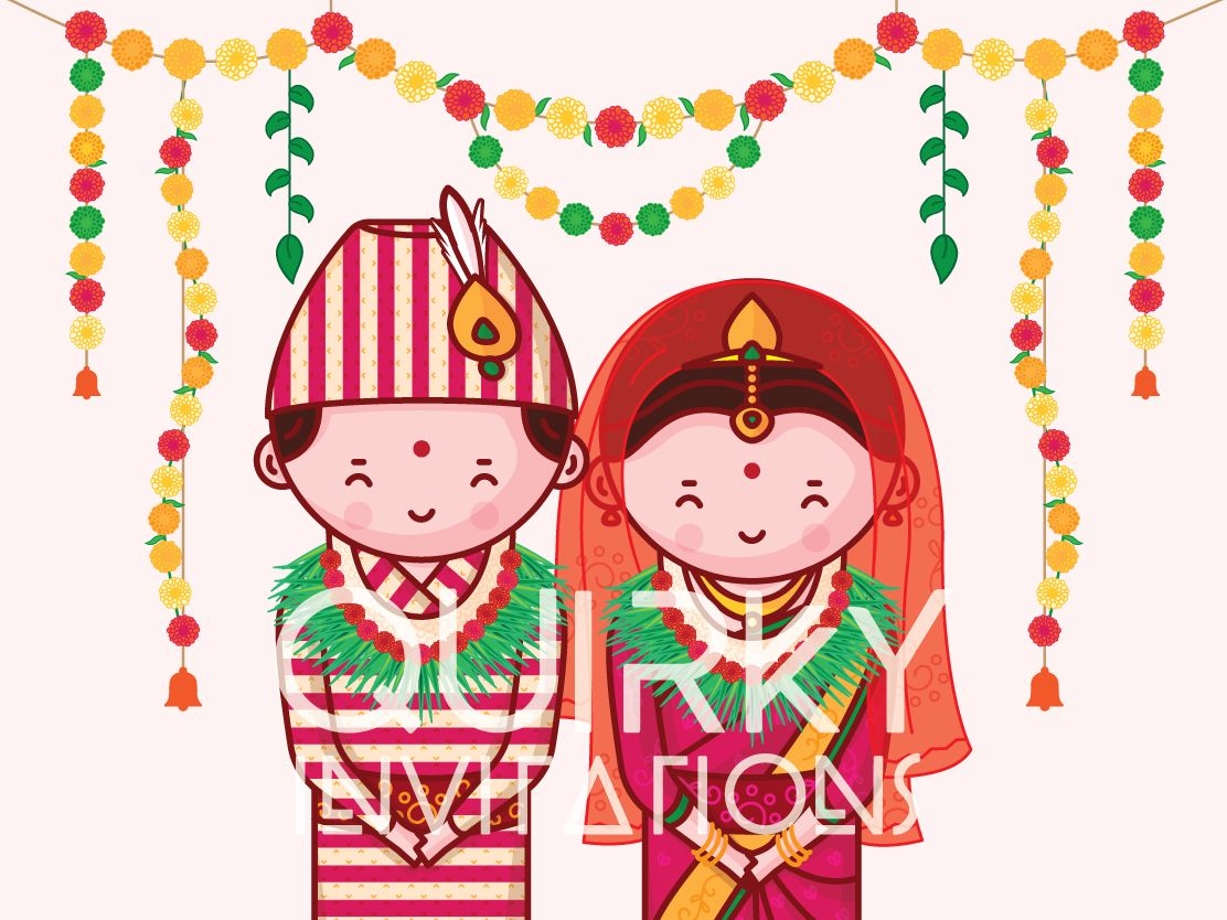 Nepali Wedding Invitation Cute Couple Collection Quirky Invitations Indian Wedding Invitations Cartoon Wedding Invitations
