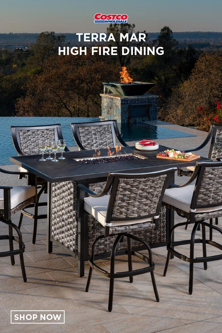 Terra Mar 7 Piece High Fire Dining High Fire Outdoor Furniture Sets Fire
