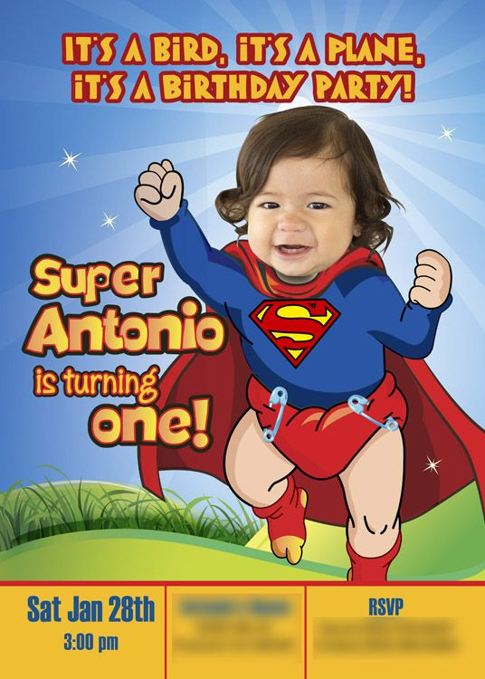 Baby Superman Birthday Invitation With Your Little Boy As Super