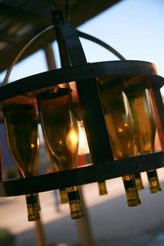 wine barrel chandelier…want…now…and an outdoor patio…and yard