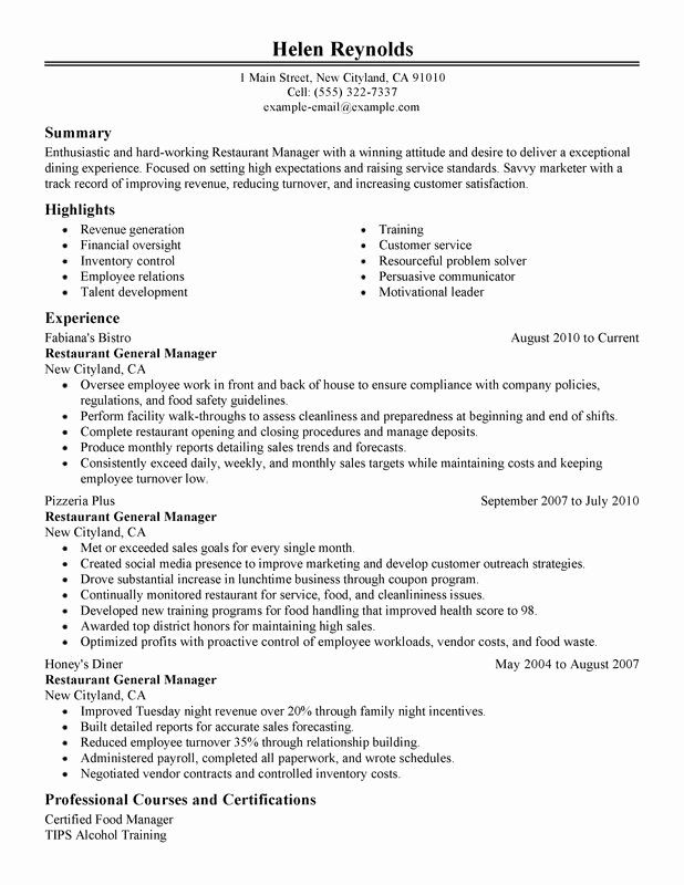 Restaurant General Manager Resumes Awesome Restaurant Manager Resume Examples Created By Pros In 2020 Resume Examples Good Resume Examples Job Resume Examples