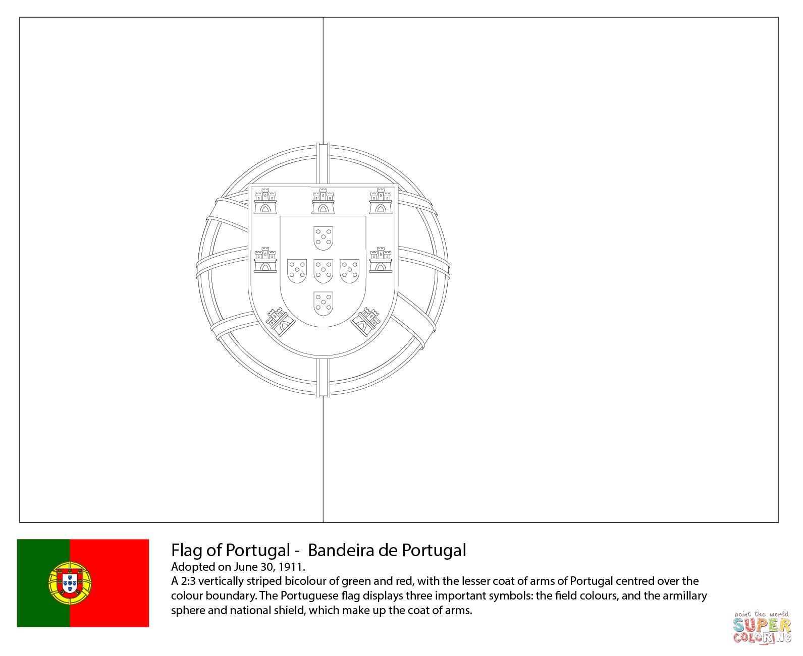 Vlag Van Portugal Kleurplaat