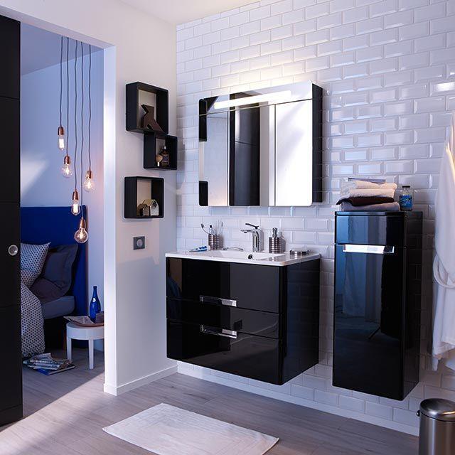 meuble de salle de bains noir 80 cm belt - castorama | deco ... - Salle De Bain Meuble Noir