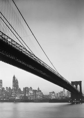 Brooklyn Bridge and Manhattan skyline by Charles E. Rotkin - Black and White #Photography