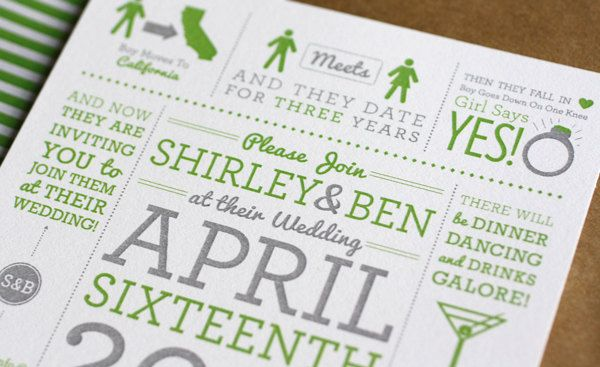 Shirley & Ben Wedding Invitations. $4.00, via Etsy.
