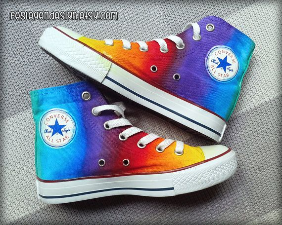 Rainbow Custom Converse / Colorful Painted Shoes door ...
