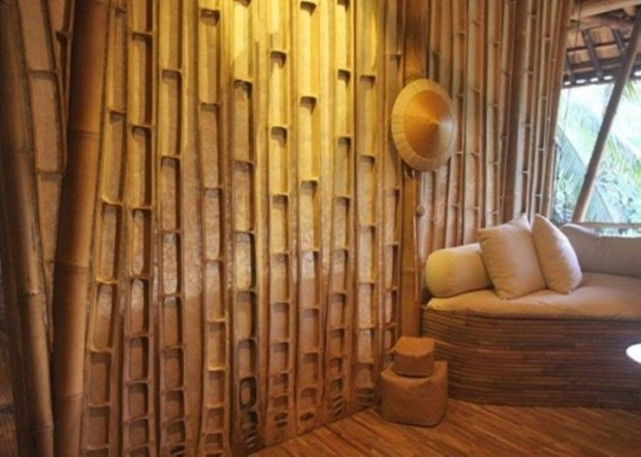 Decoration, Traditional House Design With Pretty Bamboo Wall Panels Ideas  Also Paired With Sleeper Sofa