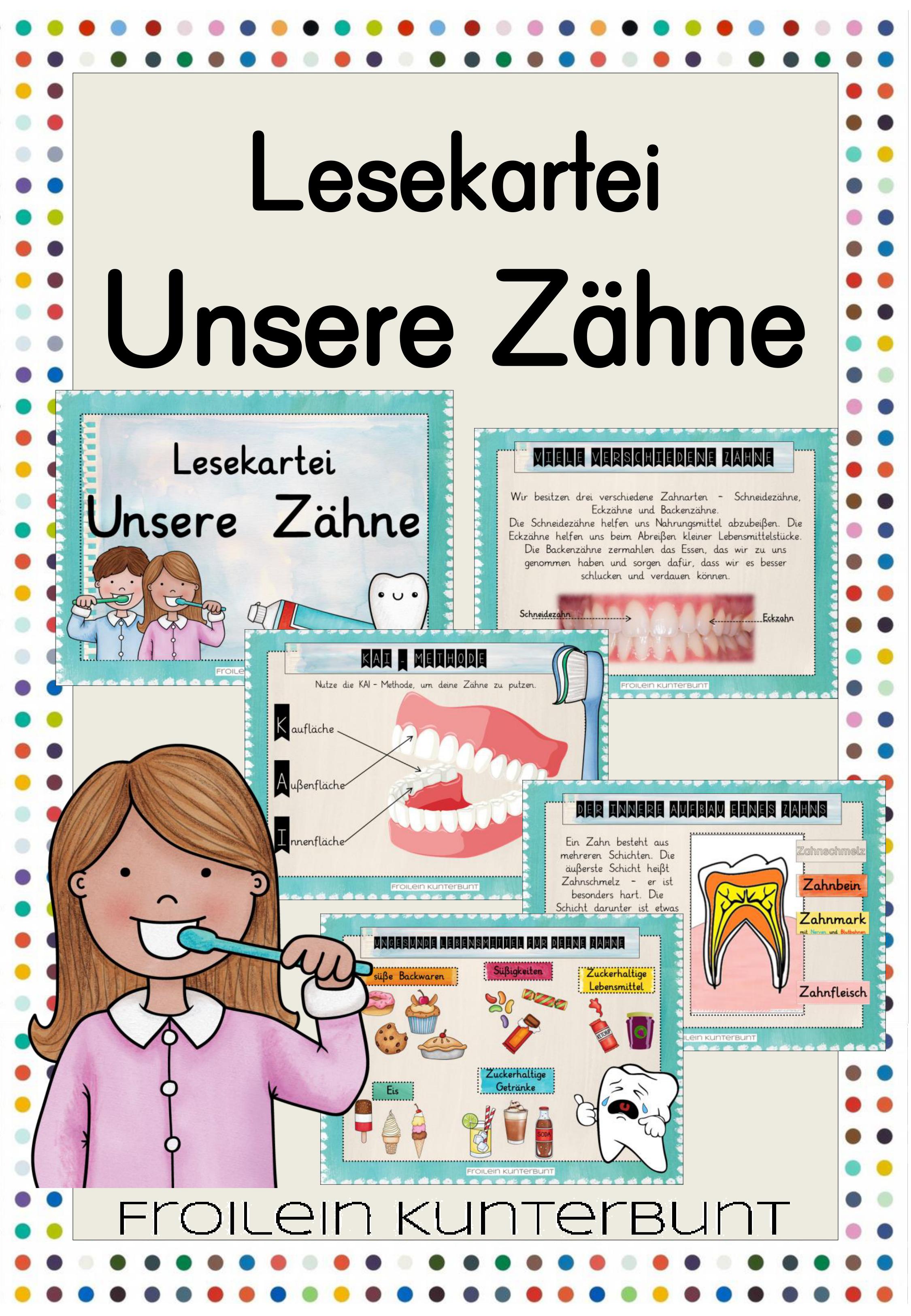 lesekartei unsere zähne  unterrichtsmaterial in den