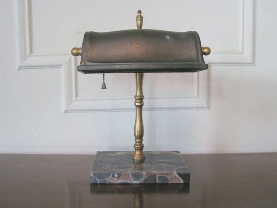 1930s Brass Bronze And Marble Bankers Lamp Vintage Desk Librarian Light Vintage Desk Old Lamps Bankers Lamp